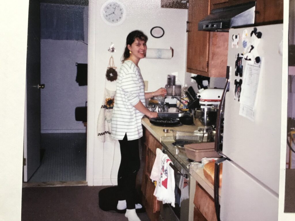 Kristen in her basement apartment in 1999