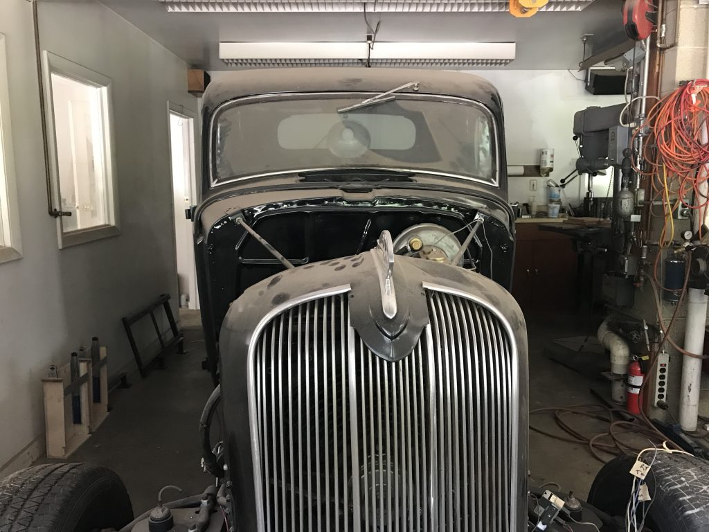 vintage car being restored