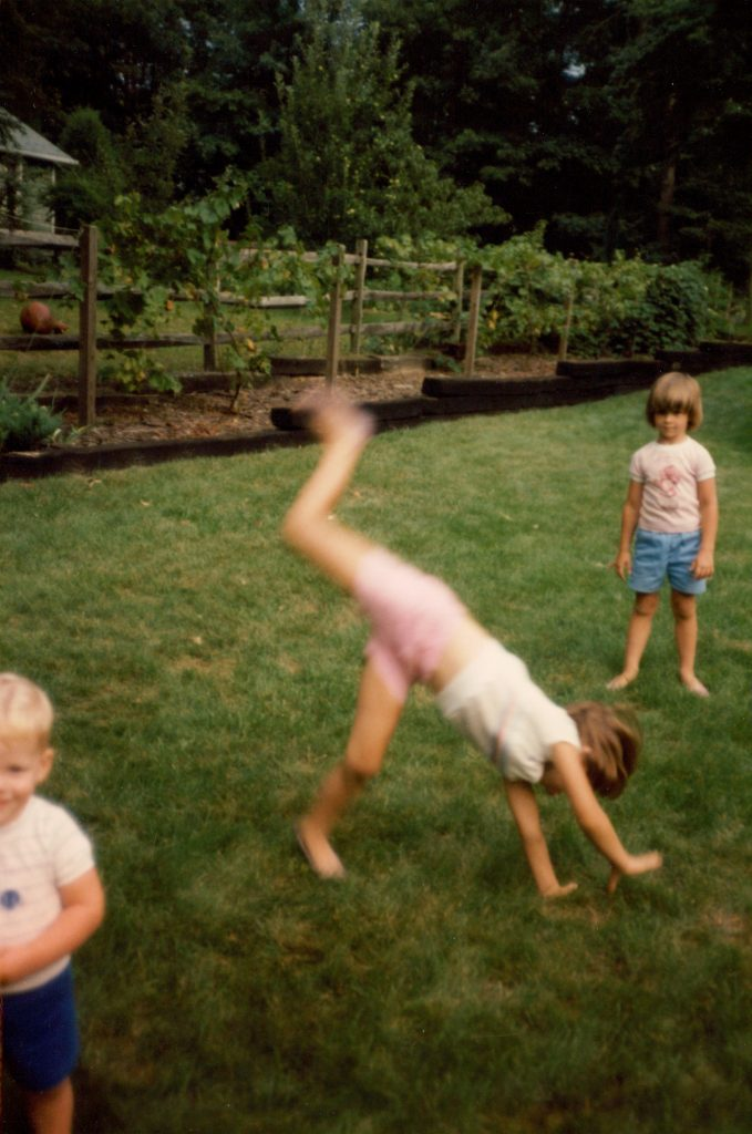 Kristen doing a cartwheel