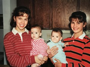 Kristen and her sister with twin cousins