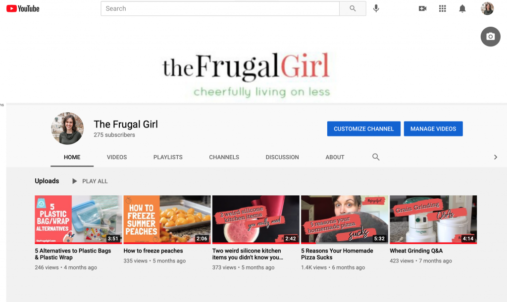 The Frugal Girl's Youtube