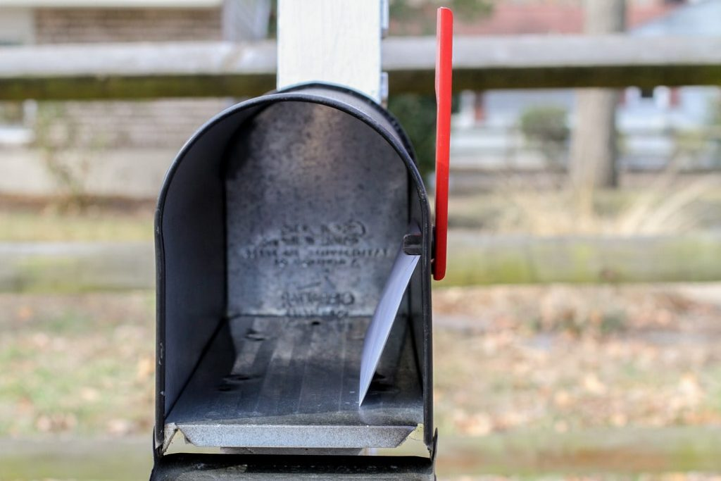 mailbox with the flag up